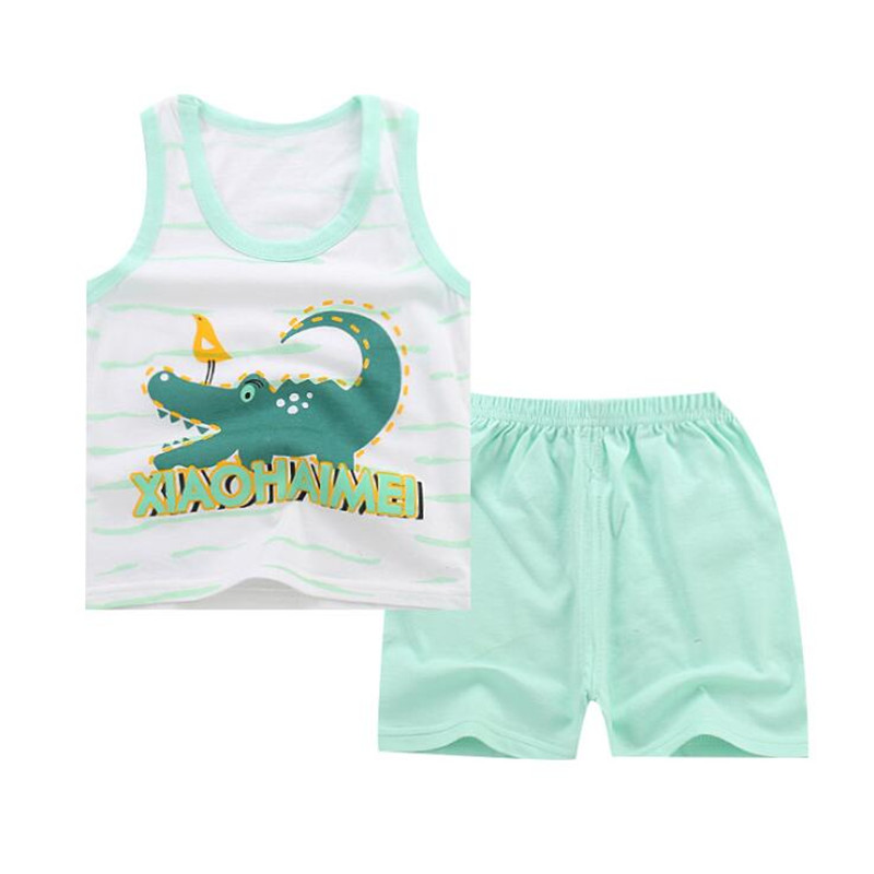 Summer 2pcs Suits Baby Boy Clothing Set Cartoon Boys Girls Vest Clothes Set Cotton Sleeveless Sports T Shirts Toddler Shorts 2pcs boys girls set 2016 summer style children clothing sets baby boys girls t shirts shorts pants sports suit kids clothes