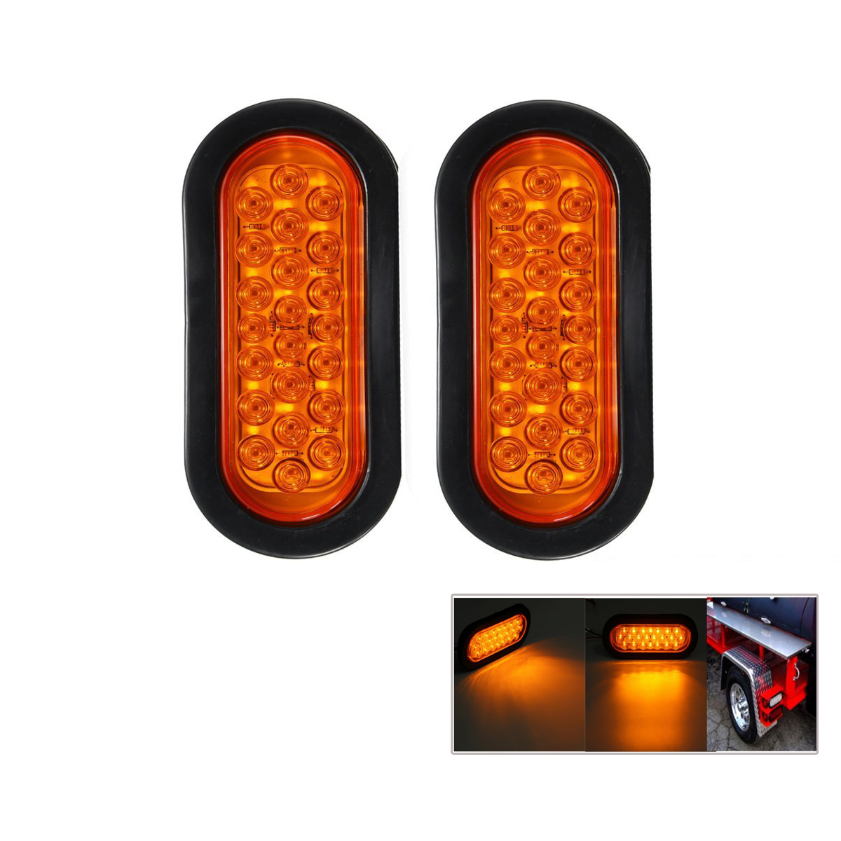 2pcs 12V 22-LED Oval Red Stop/Turn Signal/Brake/Marker/Tail LED Light Flush Mount for Tr ...