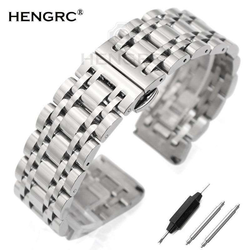 Rostfritt stål armbandsarmband 20mm 22mm män Metallpolerat klockband Bandrem Klockor Tillbehör