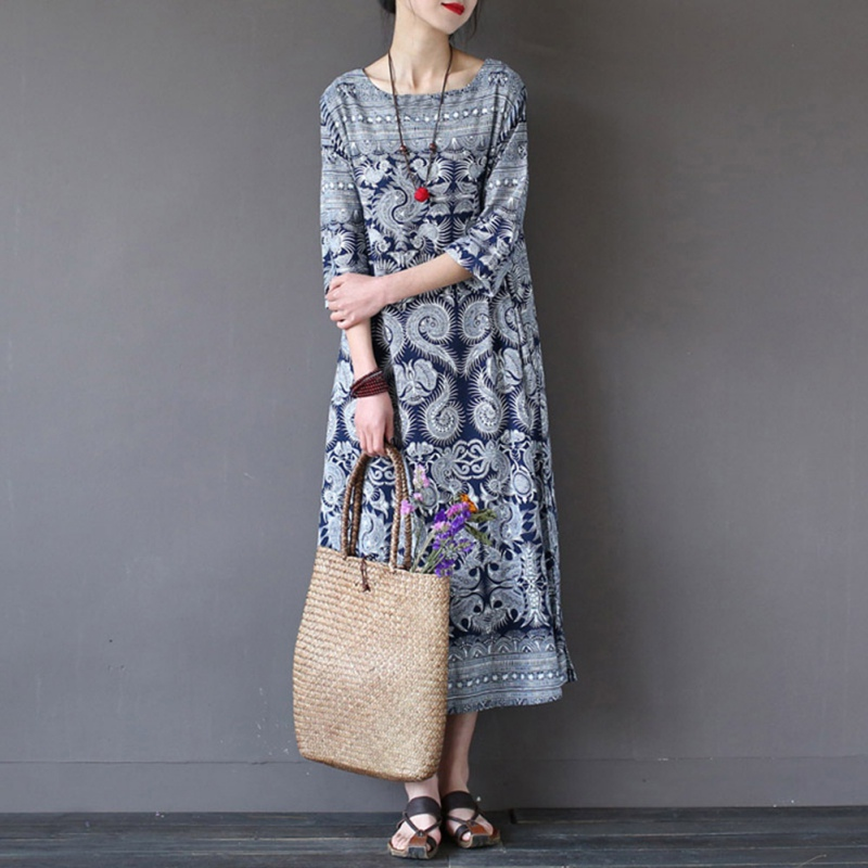 Vintage Floral Print Boho Beach Long Dress Plus Size 5XL Summer Dress Shirt Casual Women's European Style T-shirt Dresses H6