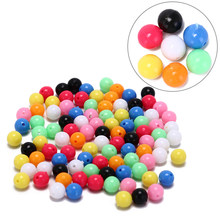 6mm 8mm DIY Multiple Color Mixed Fishing Rigging Plastic Beads Stops for Lure Spinners Sabiki 100PCS(China)