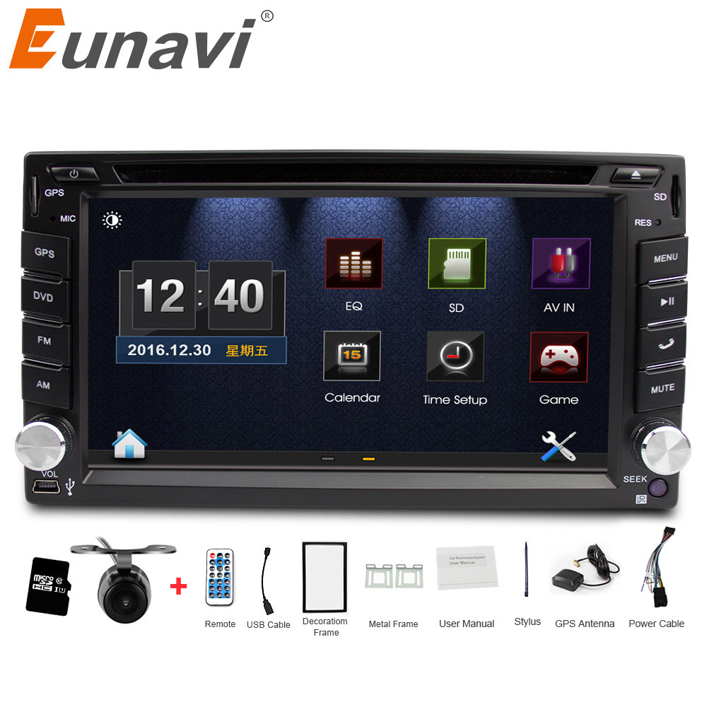 Eunavi universal Car Radio Double 2 din Car DVD Player GPS Navigation In dash Car PC Stereo Head Unit video+Free Map+Free Cam! цена