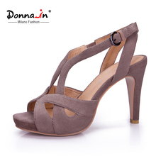 Donna-in original design high heel sandals high quality suede platform thin heel ladies sandals