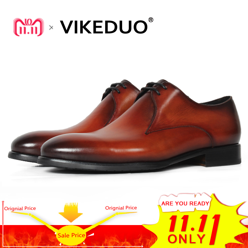 Vikeduo Handmade Classic Men Snow Shoe Luxury Lace-up Designer Wedding Party Dress Shoe Male Genuine Leather Mens Derby Shoes new arrival mens fashion wedding party dress genuine leather derby shoes breathable lace up oxfords shoe crocodile pattern male