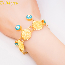 Ethlyn Evil eye coins bracelet jewelry Gold Color Islam Women Coin Bracelet muslim arab middle east jewelry wedding B019
