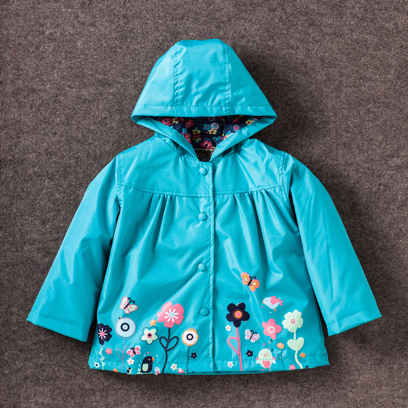 Children Winter Outwear Flower Hooded Jacket Boys Girls Windproof Keep Warm Rain Pants And Raincoat Clothing