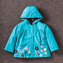 Children Winter Outwear Flower Hooded Jacket Boys Girls Windproof Keep Warm Rain Pants And Raincoat Clothing For 2-6 Age Baby