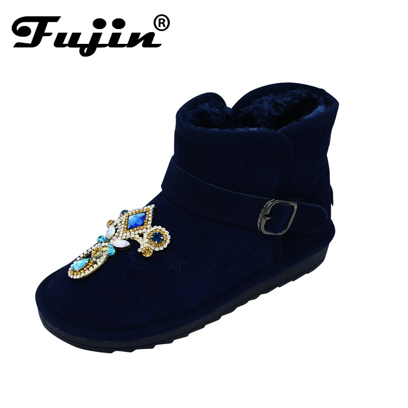 Fashion Women Boots Rhinestone Genuine Shoes For Autumn Winter Shoes Ankle Snow Boots Blue Hot Sale
