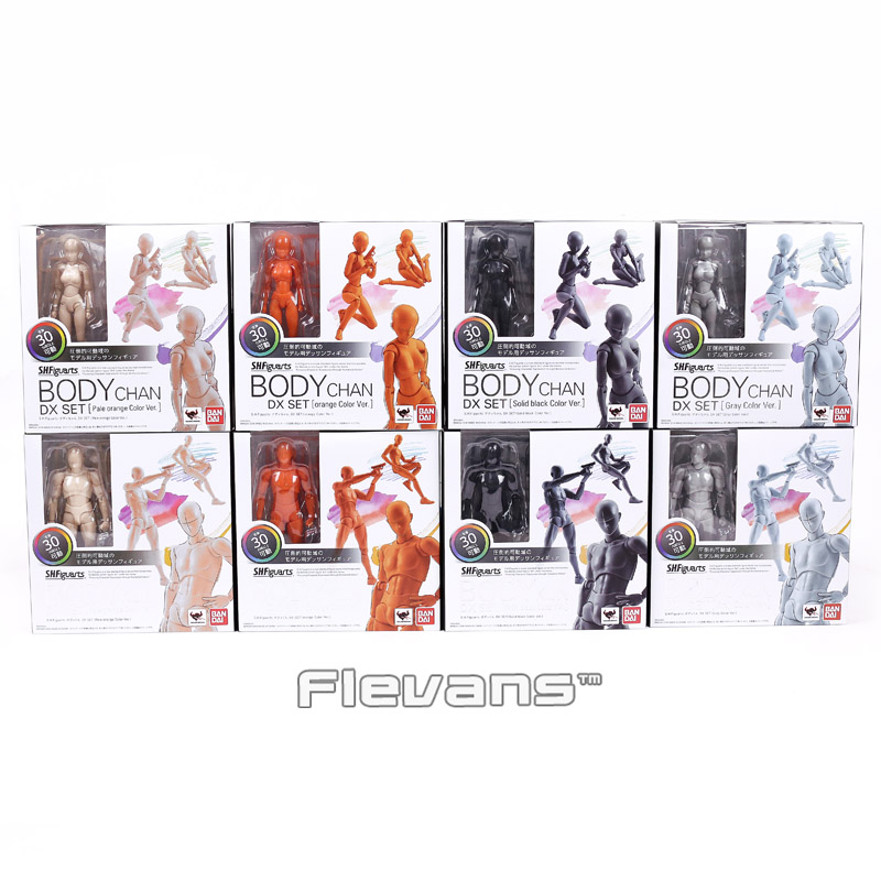 SHF Figuarts He/She BODY KUN / BODY CHAN DX SET PVC Action Figure Collectible Model Toy with stand 4 Colors shfiguarts pvc body kun body chan body chan body kun grey color ver black action figure collectible model toy