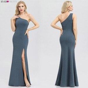 Image 2 - Plus tamanho vestidos de noite longo sempre bonito novo azul empoeirado sem mangas com decote em v baratos verão vestidos formais 2020 robe soiree dubai