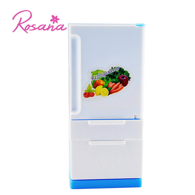 Rosana Sweet Blue Fridge for Barbie Doll House Furniture Exquisite Realistic Style Fridge Freezer Refrigerator for Barbie Dolls