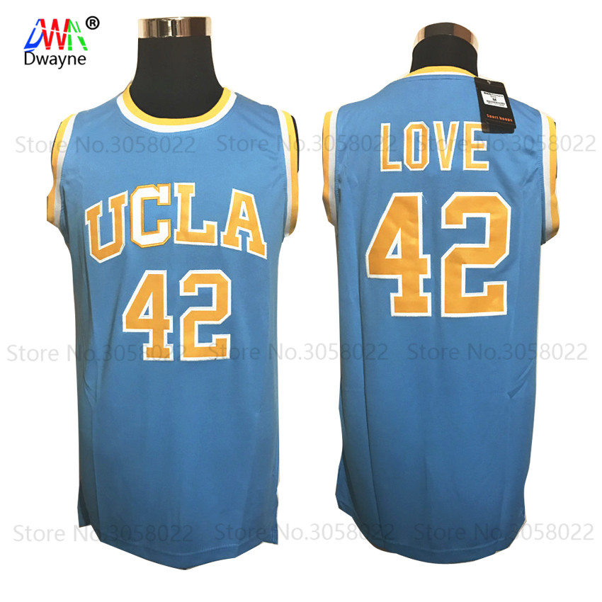 цена на 2017 Dwayne Mens Kevin Love 42 Basketball Jerseys UCLA College Basketball Jersey Stitched Shirts Blue For Men