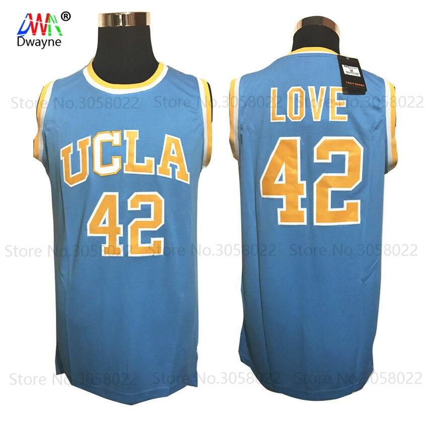 Prix pour 2017 Dwayne Mens Kevin Love 42 de Basket-Ball Maillots UCLA College Basketball Jersey Piqué Shirts Bleu Pour Hommes