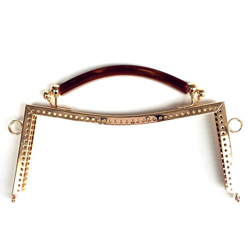 1Pc Plastic Handle Metal Smooth Frame Clutch Kiss Clasp Lock Handbag Purse Handle Accessories 20.5cm