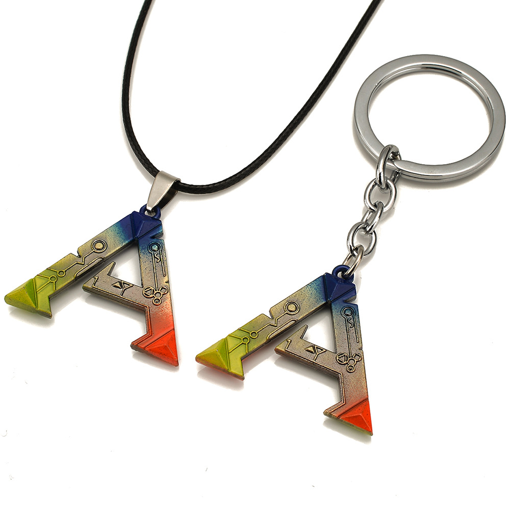 1 Piece 2017 Game ARK Survival Evolved Necklace Keychain Keyring Tag Pendant Metal Cosplay Accessories Christmas Gift