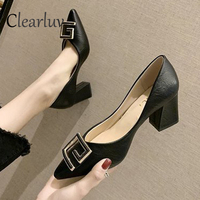 Women's shoes 2019 new pointed thick heels 6.5 cm new single shoes female autumn shallow mouth work women's shoes size 34 40