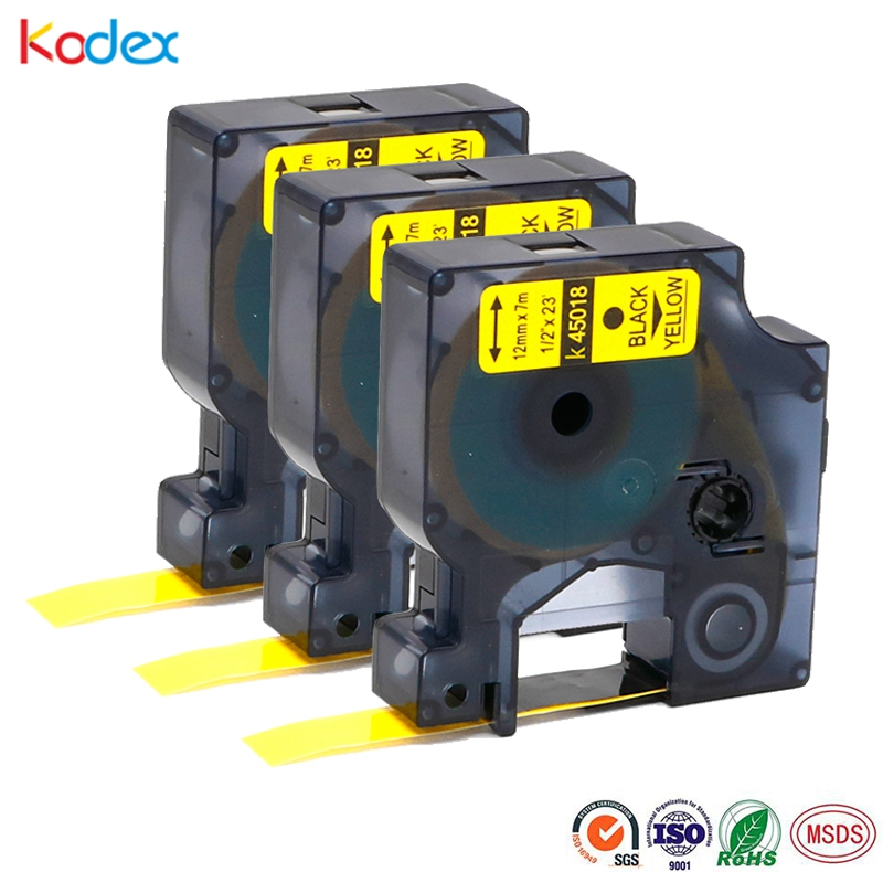 2 PK 45018 Black on Yellow Label Tape for DYMO D1 12mm LabelManager 200 250 280