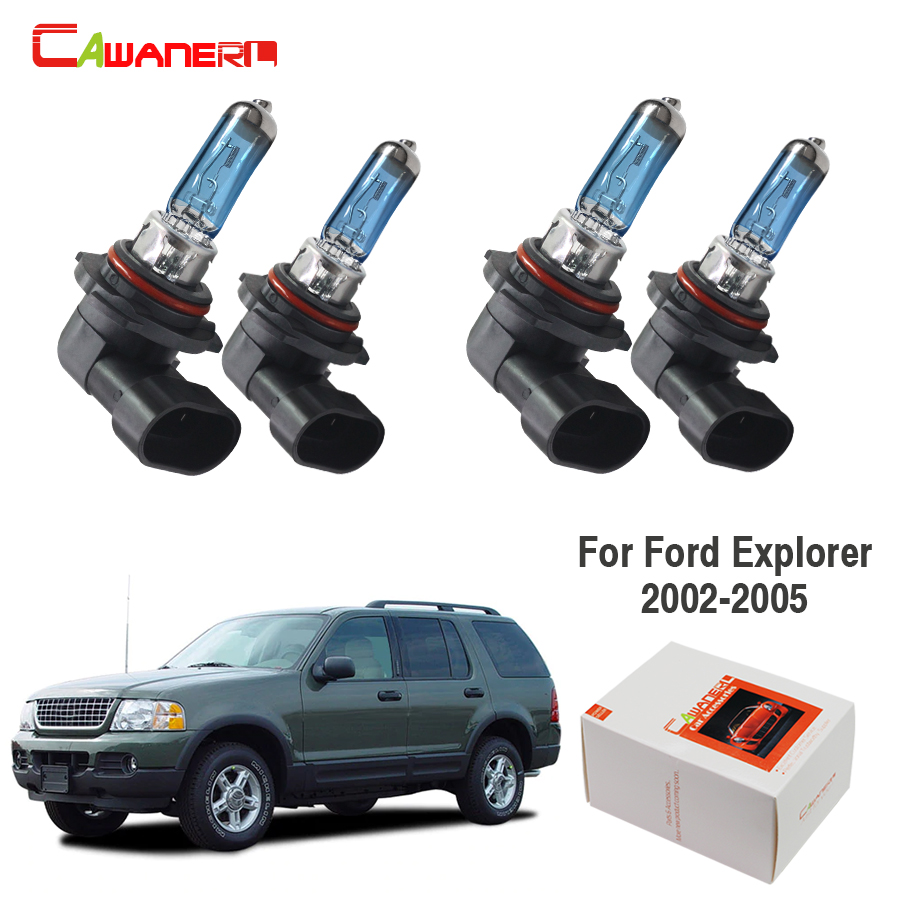 Cawanerl For Ford Explorer 4-Door 2002-2005 100W Car Halogen Lamp Headlight Light High & Low Beam 4300K Warm White Styling