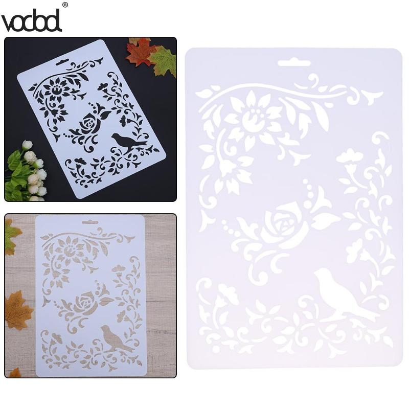Hot Diy Craft Rose Vines Layering Plastic Stencils For Scrapbooking Paper Card Painting Stamps Album Decorative Embossing Crafts Aliexpress