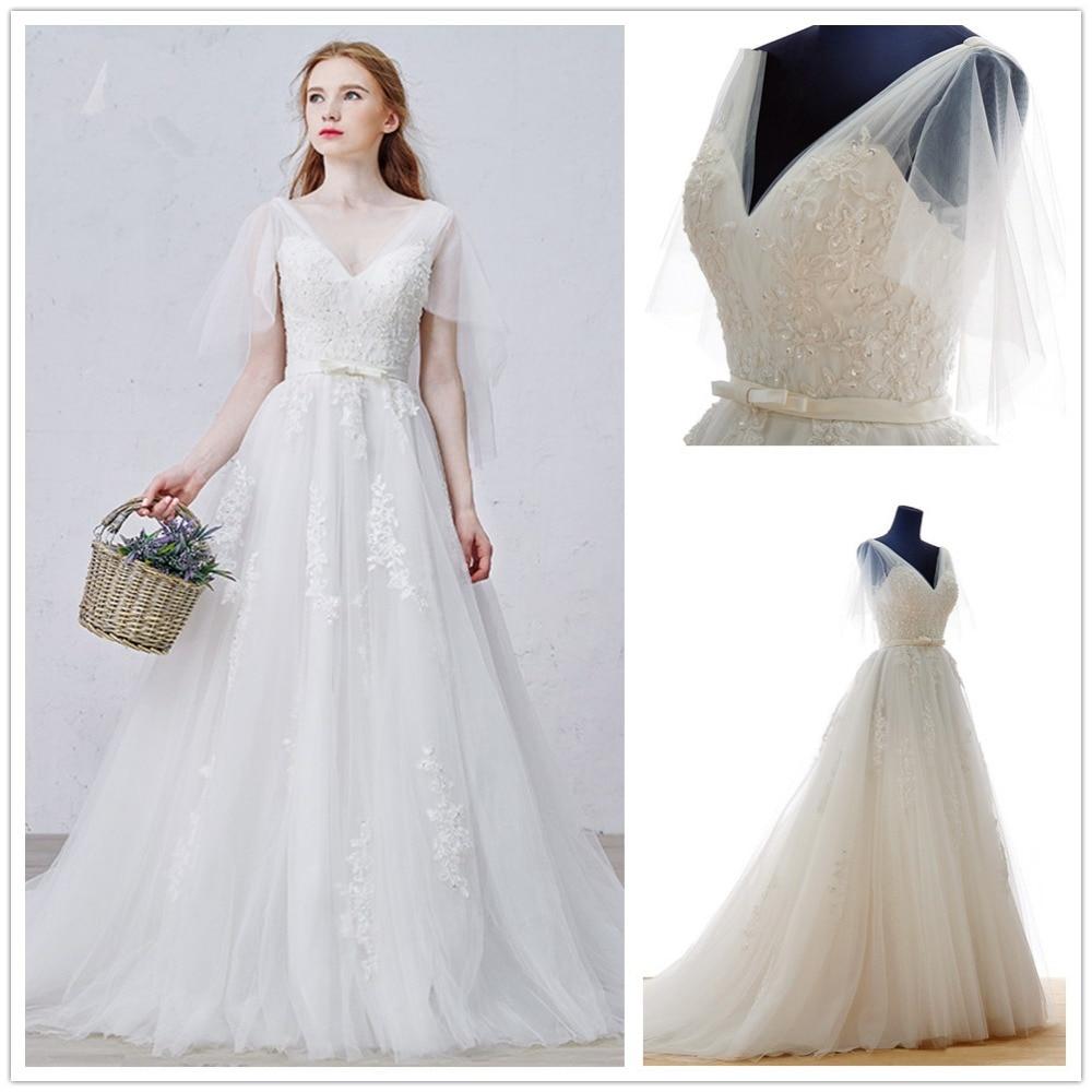 OMYW0010 v neckline lace applique long train lace wedding dress ...
