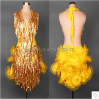 Latin Dance Costume Senior Sexy Deep V Belt Sequins Tassel Latin Dance Dress Women Latin Dance