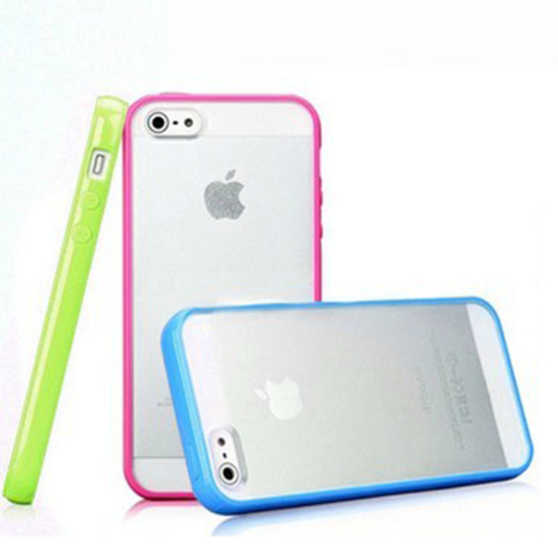 high quality hybrid TPU Frame Matte hard plastic back cover Case for iPhone 5 5S SE Candy jelly case capa para fundas capinhas