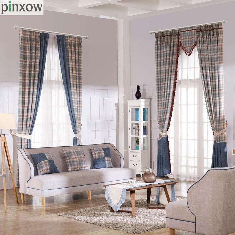 cortinas para la sala de escocia a cuadros de espesor de lujo cortinas para el dormitorio comedor ventana ciega escocia azul sua