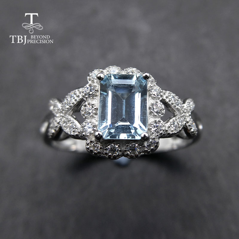 TBJ,aquamarine Ring Natural Light To Medium Oct 5*7mm Gemstone 925 Sterling Silver Fine Jewelry For Women As A Birthday Gift