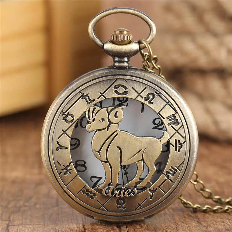 Vintage Aries Pocket Watch Women Hollow Pendant Chain Bronze Quartz Mens Watches Copper Retro Clock Gift Bag durable fashion pocket watch chain quartz watch vintage retro bronze quartz pocket watches