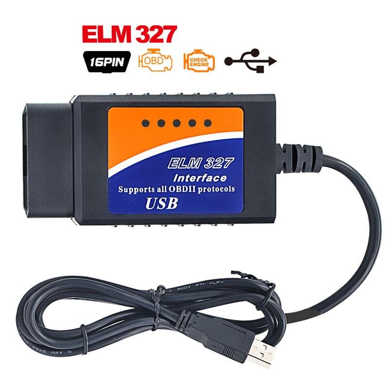 Prix pour Top vente ELM327 Interface USB OBD2 Auto Scanner V2.1 OBDII OBD 2 II elm327 usb Super scanner