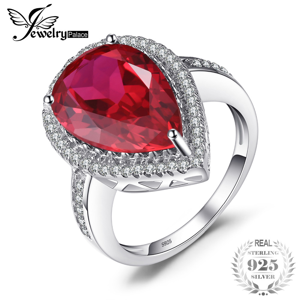JewelryPalace Luxury Pear Cut 7ct Red Created Ruby Solid 925 Sterling Silver Engagement Ring Fine Jewelry Fashion Ring for Women jewelrypalace butterfly 3 7ct created emerald bangle bracelet 925 sterling silver fashion fashion jewelry for women 2018 new