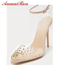 ANMAIRON  PU Super High Thin Heels Zapatos De Mujer Moda 2019 Vestir Pointed Toe Casual Shoes Woman Size 35-43 LY824