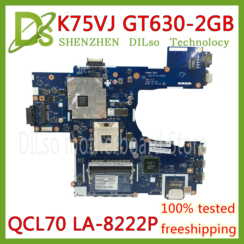 KEFU K75VJ For ASUS K75V K75VJ K75VM Mainboard QCL70 LA-8222P GT630M/GT635M-2GB Laptop Motherboard REV:1A REV:2.0 Test Work 100%