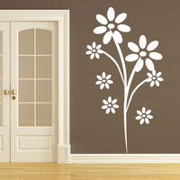 Waterproof DIY White Flower Decal Vinyl On The Wall Near The Door Large Wall Stickers Home Decor For Living Room