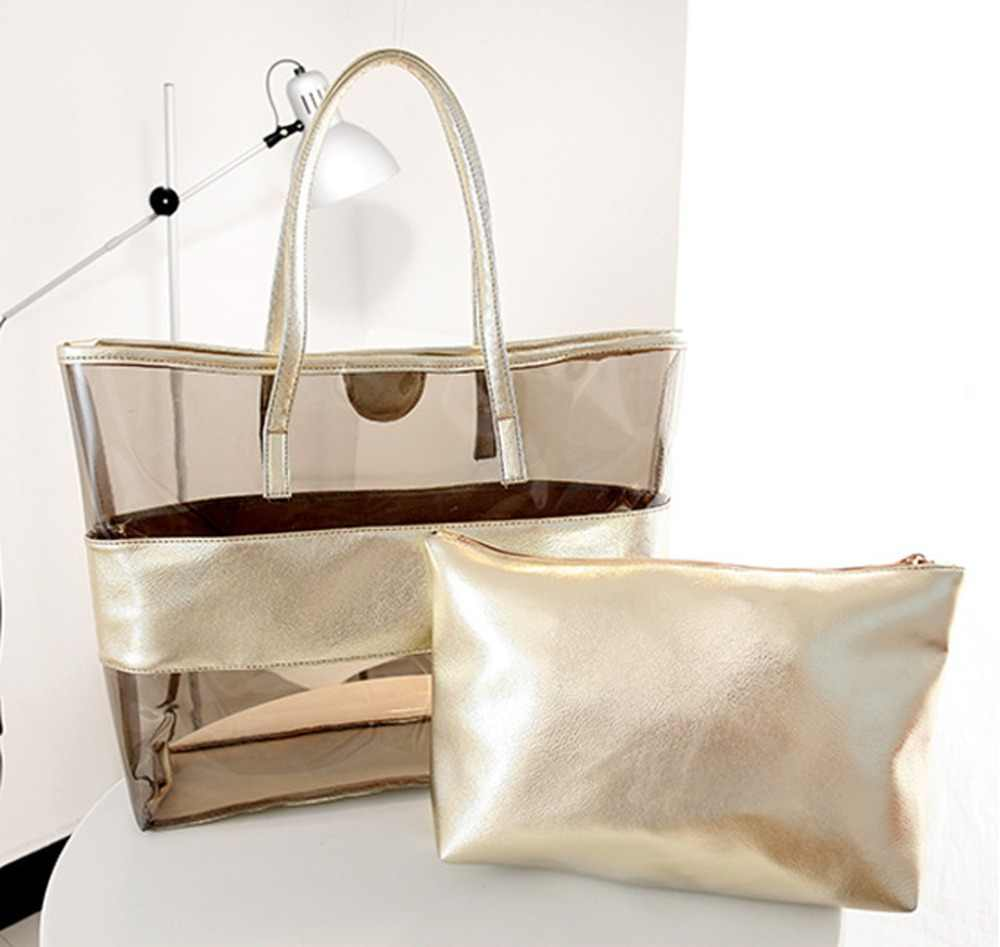 2019 Transparent PVC Handbag beach Shoulder bag Women New Trend Tote Hot Sale Jelly Color Plastic Clear Bag Large capacity