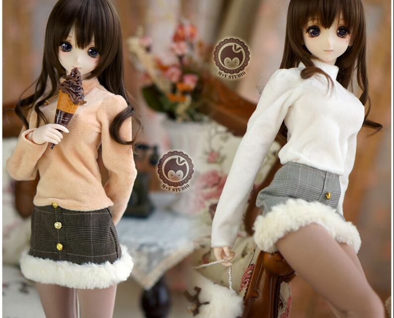 [Agent]NEW winter Lovely White/khaki tops+skirt+socks+bag Suit Small skirt 1/3 DD SD BJD Doll Clothes