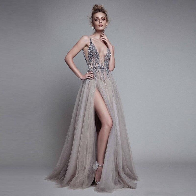 Для женщин рыбий хвост пикантные Длинные платья v образным вырезом спинки вечерние платья без рукавов развертки поезд Дешевые Тюль вечерни