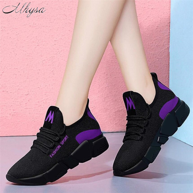 Mhysa 2019 Spring New Women casual shoes fashion breathable lightweight Walking mesh lace up flat shoes sneakers women T71 1