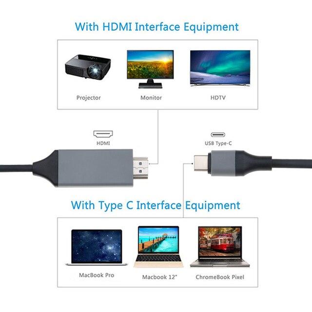 Kebidu tipo C a HDMI Cable USB C a HDMI convertidor 2m de Cable USB 3,1 a 30Hz HD extender adaptador para Macbook Samsung S8 venta al por mayor