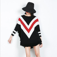 2018 Plus Size Autumn Casual Long Women Contrast Color Tassel Sweater Coat Batwing Sleeve Femal Sweaters knitting Pullovers New
