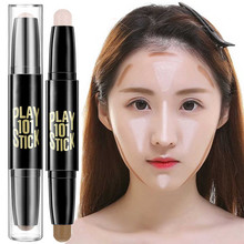 2018 Mode Gezicht Makeup Concealer Pen Multi effect Dubbele Hoofd 3D Bronzer Highlighter Stick Textuur Contour Potlood Foundation(China)