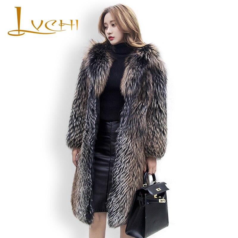 LVCHI женские зимние пальто импорт черного золота длинный Паркер лисий мех утолщенный с шляпой лиса пальто из настоящего меха более 165 см Дамы