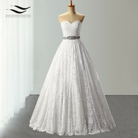A Line Lace Sweetheart Sleeveless Crystals Wedding Dresses Sashes Wedding Dresses China Crystal Wedding Dress Vernassa