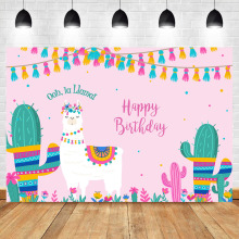 цена NeoBack La Llama Birthday Backdrop Mexico Pink Llama Fun Birthday Backdrops онлайн в 2017 году