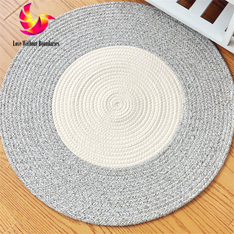 Round Rug Cushion Circular lPope Woven Carpet Woven Solid Color iving Room Bedroom Rug Washed Capet Cotton Reversible Carpet