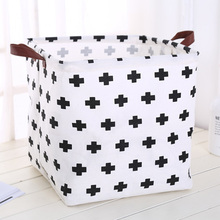 Foldable organizer Storage Basket Folding For Cotton Linen Art Nordic Wind Large Toy Storage Box Barrel organizador