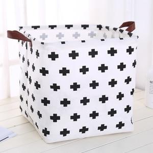 Image 1 - Foldable organizer Storage Basket Folding For Cotton Linen Art Nordic Wind Large Toy Storage Box Barrel organizador
