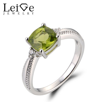 Leige Jewelry Natural Peridot Green Gemstone August Birthstone Cushion Cut Prong Setting Engagement Romantic Rings For Woman