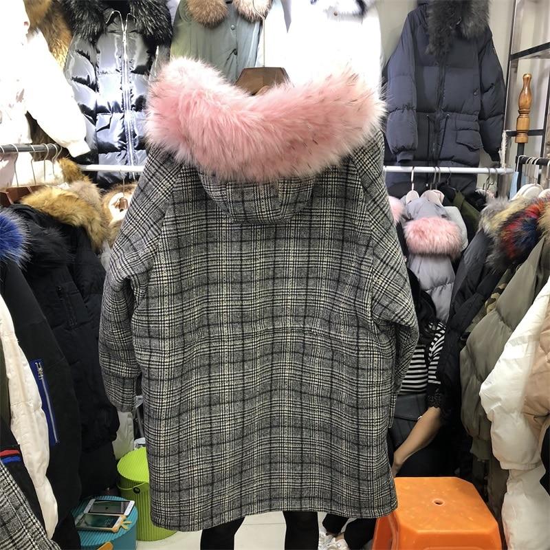 2018 Longueur taille Long Plaid white Hiver À Épais Pink Femmes Corps Zipper Large Veste Capuchon 77YPUnq