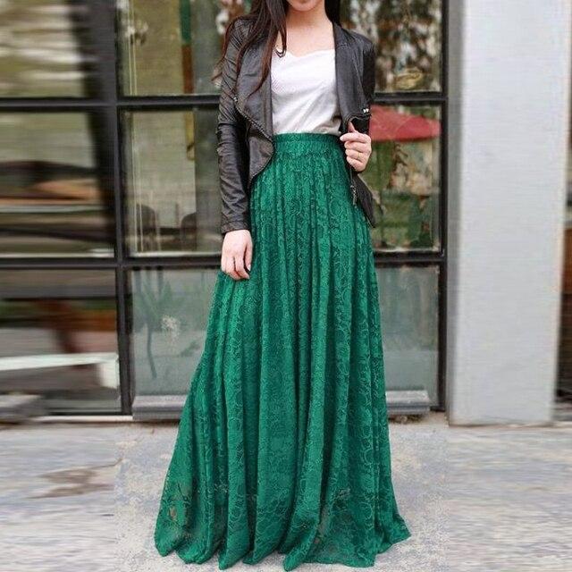 d3687d6958 Primavera otoño verde oscuro Encaje falda por encargo a línea piso longitud  Maxi falda exquisita mujeres